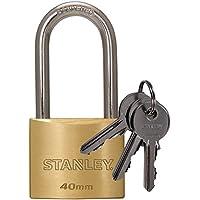 STANLEY Solid Brass Vorhangschloss 40 mm mit hohem Bügel, 3 Schlüssel, S742-043, Schloss, Bügelschloss