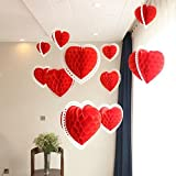 partymane Paper Tissue Paper Honeycomb Party Decoration Red Heart / Honeycomb with Stars and Hearts / Baby Shower Honeycomb D