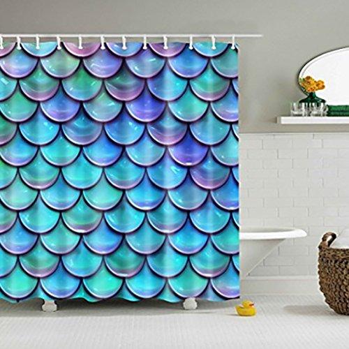 Schiebe-quadrat (Lanlan 180x 180cm Fish Scales Dusche Vorhang Mehltau wasserdicht Polyester Badezimmer Vorhänge Dekoration mit 12Haken)