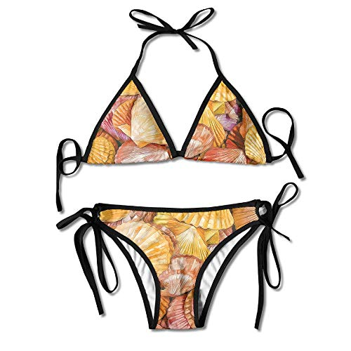 Sdltkhy Sea Shells Oil Painting Womens Triangle Top Bikini Swimsuit Sliding Swimwear Asus Sea Shell