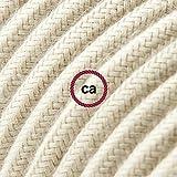 Creative-Cables Cavo Elettrico rotondo rivestito in Cotone Tinta Unita Tortora RC43-3 Metri, 2x0.75
