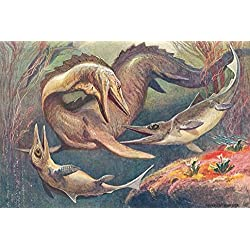 Dinosaurios - Mosasaurio Y Ictiosaurios, Heinrich Harder, 1912 Fotomural Autoadhesivo (180 x 120cm)