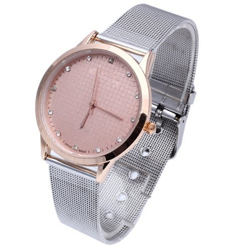 Reloj de Pulsera Aleacion Plateado Cuarzo Esfera Color Oro Rosa para Mujer