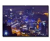 NUR 4 Stück erhältlich Städtebild Hamburg Wandbild auf Leinwand (hamburg 80x120cm) Bilder fertig gerahmt auf Keilrahmen xxl. Kunstdruck auf Leinwand. Günstig inkl Rahmung