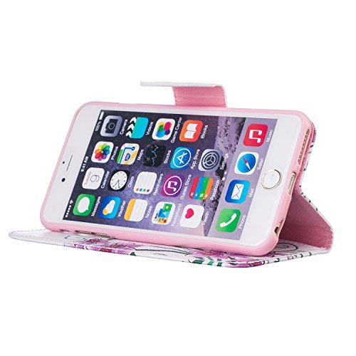 """MOONCASE iPhone 6s Plus Coque, [Rosa Fleur] Modèle Housse Pochette en Cuir Etui à rabat portefeuille [Porte-cartes] TPU Case avec Béquille pour Apple iPhone 6 Plus / 6S Plus 5.5"""" Papillon Fleur"""