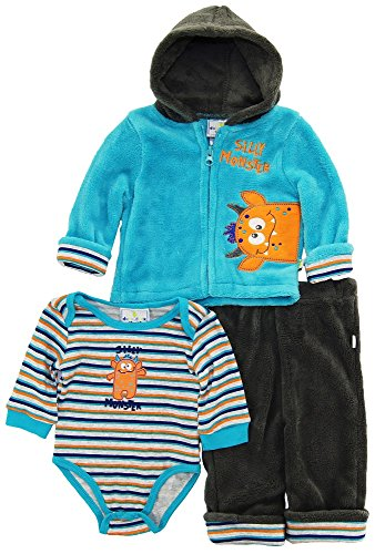 duck-goose-baby-boys-cute-silly-monster-sherpa-jacket-bodysuit-3pc-pant-set-blue-0-3-months