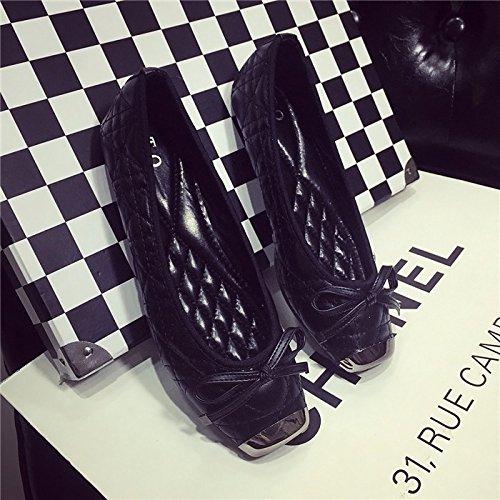 WYMBS Télévision avec fond mou tête carrée des souliers plats automne nouvelle bouche peu profonde casual chaussures pour femmes chaussures plates Gold