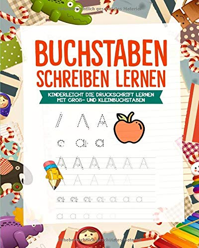 Buchstaben lernen: Alphabet lernen mit Druckschrift - Druckbuchstaben ABC Vorbereitung für die Grundschule
