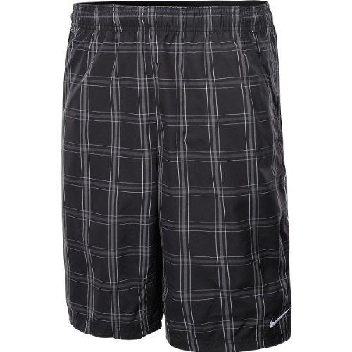 Plaid Woven Shorts (NIKE Herren Kurze Hose N.E.T. 10 Plaid Woven, black/white/white, S, 447069-011)
