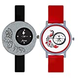 Frida Black and Red Designer Analog Casual Watch with Combo of 2 for Women and Girls