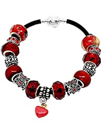 Souarts Womens European Charm Bracelet With Red Murano Glass Beads Rhinestone Heart Charms 20cm s4Qixz2