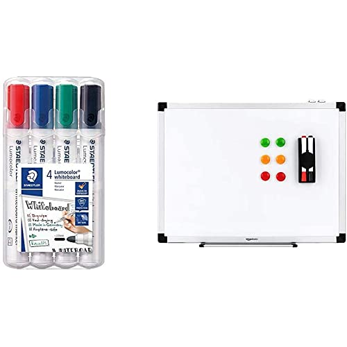 STAEDTLER Lumocolor whiteboard marker, confezione da 4, punta tonda, 351 WP4 & AmazonBasics - Lavagna bianca, cancellabile a secco, con supporto porta-pennarelli e bordi in alluminio, 90 cm x 60 cm