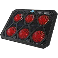 VOXON - Base de Refrigeración Gaming para Portátil con 6 Ventiladores hasta 19 Pulgadas, Iluminación LED Rojo con Puerto USB