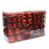 WOHAGA Set de 100 Bolas de Navidad Ø3/4/6cm plástico Rojo Adornos del árbol de Navidad Decoración Navideña Decoración para el Abeto