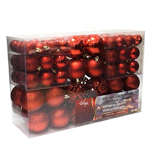 Wohaga® 1Set di 100 Palle di Natale Ø3/4/6cm plastica Rosso - Ornamento per L\'Albero di Natale Decorazione di Natale Decorazione per l\'abete