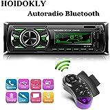 Hoidokly 1 Din Autoradio Bluetooth, 60W x 4 Stereo Auto Audio Ricevitore FM 2 USB, Lettore MP3 MMC/FM/MP3/USB/SD/AUX, 7 Colori LED, Telecomando