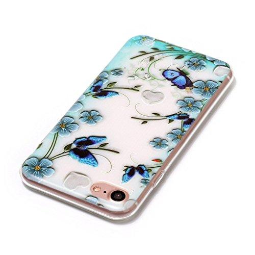 Per iPhone 7 Cover , YIGA Moda arcobaleno unicorno Cristallo Trasparente Silicone Morbido TPU Case Custodia per Apple iPhone 7 (4.7) HX44