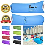 Inflatable Lounger Hammock Sofa Air Bed Portable Couch Futon Camping Bed Sleeping Bag Pool Float all in one Waterproof Durable Robust Strong Nylon for Sports Outdoors Camping Hiking Beach Pool Park Gardens Holiday Travelling Indoors comes in 8 Colours Airelax anywhere anytime (Cool Blue)