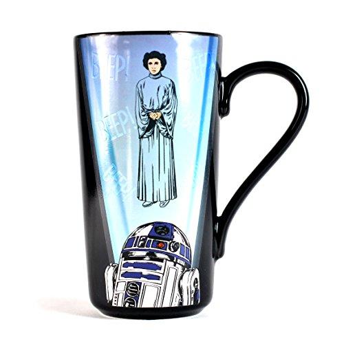 Star Wars Heat Change Latte-Macchiato Mug R2-D2 & Leia Half Moon Calici Tazze