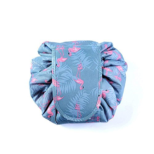 Drawstring Cosmetic Bags Large Capacity Beautician Organizer Toiletry Cosmetic Bags Portable Quick Pack Waterproof Travel Bag (Blue)