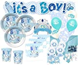 Kids Party World XXL 79 Teile Baby Shower Deko Set Storch Hellblau 16 Personen - Babyparty Junge