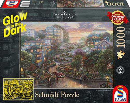 Schmidt Spiele Puzzle 59497 Thomas Kinkade, San Francisco, Lombard Street, Glow in The Dark, 1000 Teile Puzzle, bunt