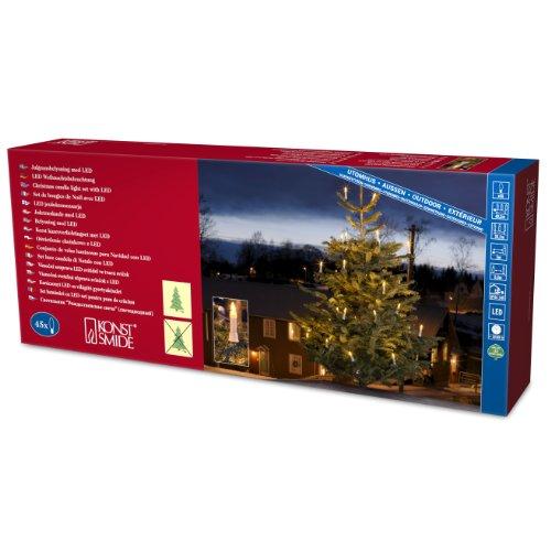Konstsmide 1015-010 - Guirnalda de velas LED para árbol de navidad (45 diodos de blanco cálido, transformador interno de 24 V, 9 W)
