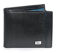 Gentleman Genuine Leather Stylish Black Mens Wallets for Boys with 6 Credit Debit Card Case Cardholder 1 ID Window