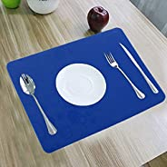"""Kuber Industries 6 Pieces PVC Dining Table Place Mats (Blue) 12""""x18""""-CTKTC3422,Cir"""