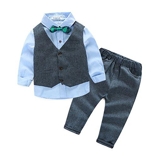Fanryn 3-teiliges Boykleidungs-Set Babyanzug Jungen Kleider Coat Kleidung kariertes Hemd spielanzug + Weste + Hose Bekleidungsset Kleidung Gentleman Anzug mit Ärmeln Herbst Kleidung des