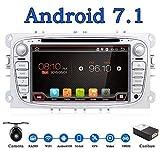 Android 7.1 Quad-Core Wifi Modèle 7' Full écran tactile Ford Focus DVD de voiture lecteur CD GPS 2 DIN stéréo gratuit de navigation GPS, caméra, CANBUS, couleur Argenté