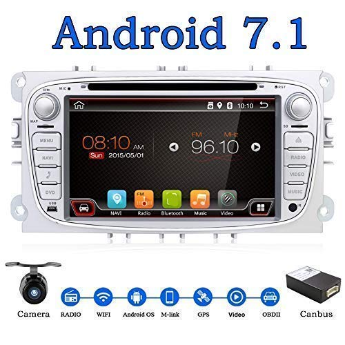 Android 7.1 17,8CM Quad Core Doppia Din Car Stereo Radio Navigation adatto Per Ford Focus Mondeo S-Max Focus Galaxy C-MAX Support Mirror Link 4G WiFi OBD2 DAB DVR USB colore argento Gratuita Camera