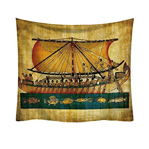 Sannysis Tapisserie Wandbehang Strandtuch Alten Ägypten Ägyptische Boot Hippie Mandala Bohemian Tagesdecke indischen Überwurf Decke Home Raum Wand Decor (F, 95 * 73cm) -