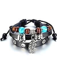Jewelrywe Boho Chic pulsera del cuero del brazalete de cuerda hojas de plata Negro ajustable Adecuado 7 ~ 10 pulgadas Hombre Retro, Mujer