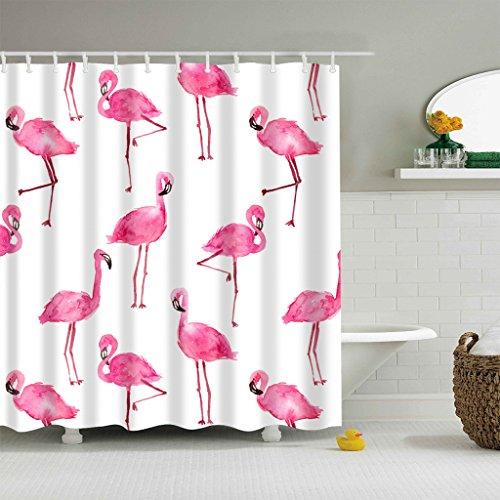 GWELL Flamingo Muster Duschvorhang Wasserdicht Anti-Schimmel inkl. 12 Kunststoff Duschvorhangringe für Badezimmer Muster-A 180x200cm (Flamingo Duschvorhang)