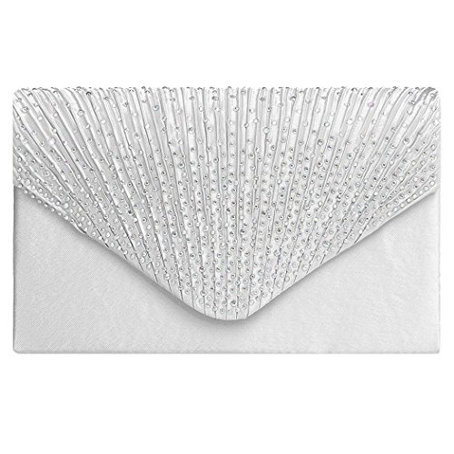 Ladies Wallet-All4you Fashion Women Diamond Fold Fashion Classic Handtasche Dinner Packages Minaudiere (weiß) (Geldbörse Fold)