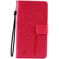Funda LG G Stylo/ LG G4 Stylus/LG LS770 Case , Ecoway Patrón de mariposa de gato en relieve PU Leather Cuero Suave Cover Con Flip Case TPU Gel Silicona,Cierre Magnético,Función de Soporte,Billetera con Tapa para Tarjetas ,Carcasa Para LG G Stylo/ LG G4 Stylus/LG LS770 - Rose Red