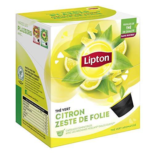 Lipton Thé Vert Citron Zeste de Folie Capsules Compatibles Nescafé Dolce Gusto Label Rainforest Alliance