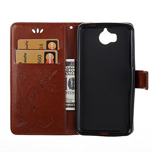 EKINHUI Case Cover Horizontale Folio Flip Stand Muster PU Leder Geldbörse Tasche Tasche mit geprägten Blumen & Lanyard & Card Slots für Huawei Y5 2017 ( Color : Red ) Coffee