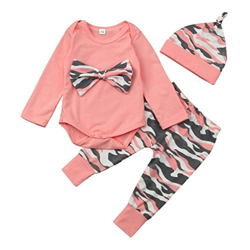 Bébé Ensemble de Vêtements,LMMVP 3pcs Infantile Bébé Fille Arc de Camouflage Top + Pantalon +Casquette Vêtements Ensemble (70(0-6M), ROSE2)