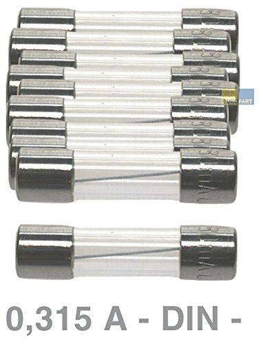 Preisvergleich Produktbild DIN Feinsicherung Sicherung 0,315A 5x20mm 10 Stück Saeco Gaggia