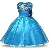 NNJXD Mädchen Blume Pailletten Prinzessin Tutu Tüll Baby Party Kleid Größe(160) 7-8 Jahre Blau