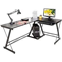 HLC Table Bureau Informatique Bureau d'Angle Ordinateur 161*120*73cm Noir-035