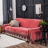 QINQIN Europäische Spitze Sofabezug,Sofa Kissen Anti-Rutsch Vier Jahreszeiten Universal Sofa-Überwürfe Sofatuch -D 200x350cm(79x138inch)