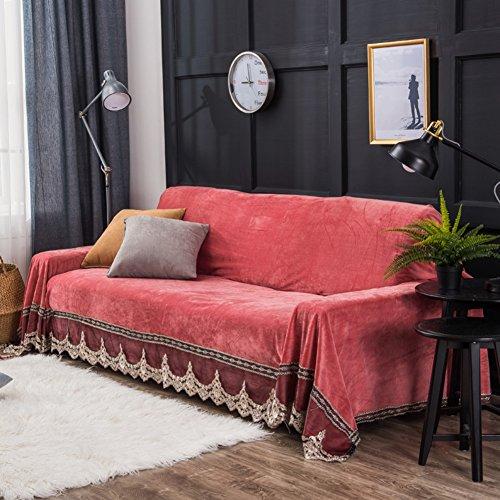 JiaQi Plüsch slipcover sofa,Moderne Winterplane stoff sofa für wohnzimmer möbel protector für 1 2 3 4 kissen sofa handtuch Staubdichte abdeckung-Rot 200x260cm(79x102inch) (Modernes Loveseat Sessel Sofa)