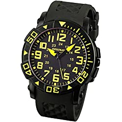 INFANTRY® Analogue Quartz Mens Wrist Watch Sports Black Dial Yellow Numeral Rubber Rotating Bezel