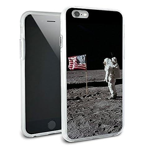 Astronaut Moon Landing 1969 American Flag Protective Slim Hybrid Rubber Bumper Case for Apple iPhone 6 6s Plus