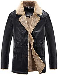 YuanDian Herren Winter Casual Lederjacke Kunstpelz Revers Futter Button  Loose Fit Verdicken Hinzufügen Samt Winddich Warm Leder Mantel… db33c727d6