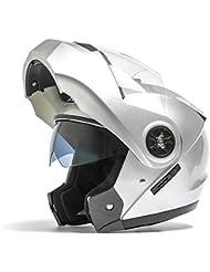 Casco de la motocicleta de la motocicleta del casco de la locomotora Mujer totalmente cubierta del casco de bicicleta eléctrica de doble lente del Descubrimiento del Casco ( Color : La Plata )