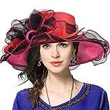 Damen Kirche Derby Kleid Fascinator Braut Mütze Britischer Tee Party Hochzeit Sonnenhüte (42b-Pink)